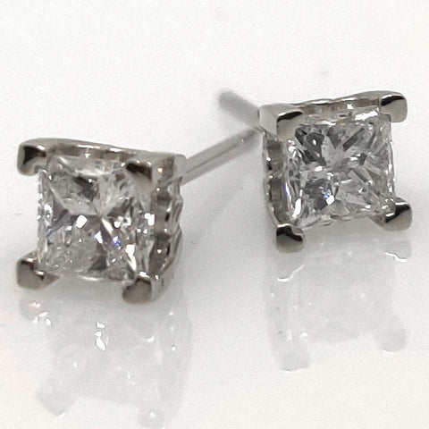 14k WG Princess Cut Diamond Earrings