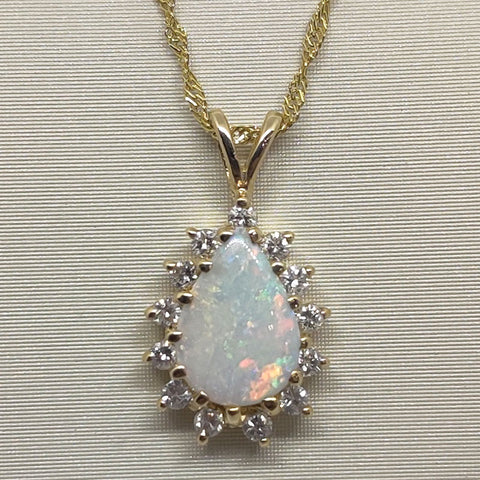 Opal & Diamonds Necklace Pendant