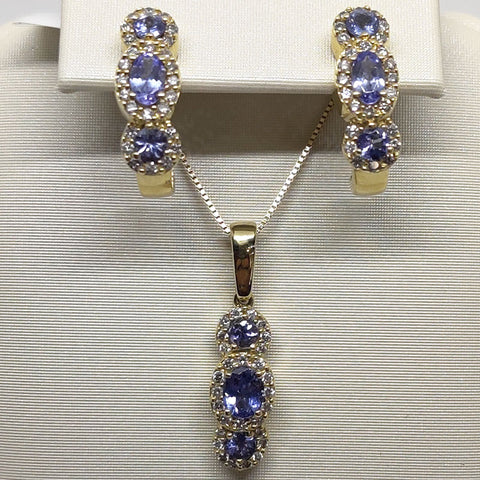 Tanzenite Diamond Earrings & Necklace