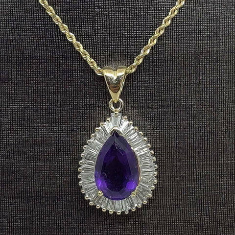 Pear Amethyst Necklace Pendant
