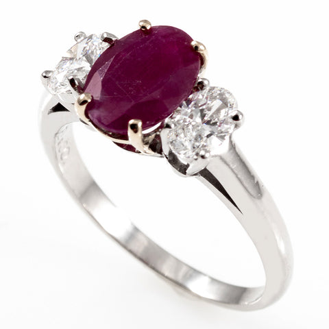 Platinum Ruby & Diamonds Ring