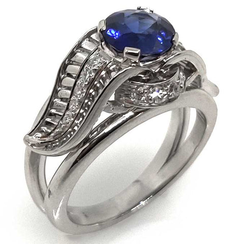 7mm Sapphire & Diamonds Ring