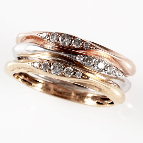 14K Tri-Gold Ring Set