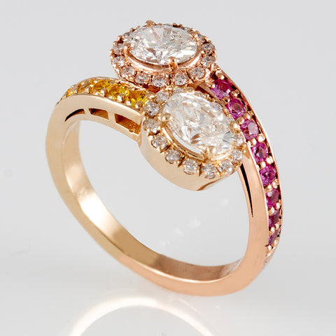 Two Tone Pink & Yellow Sapphire Bypass Ring