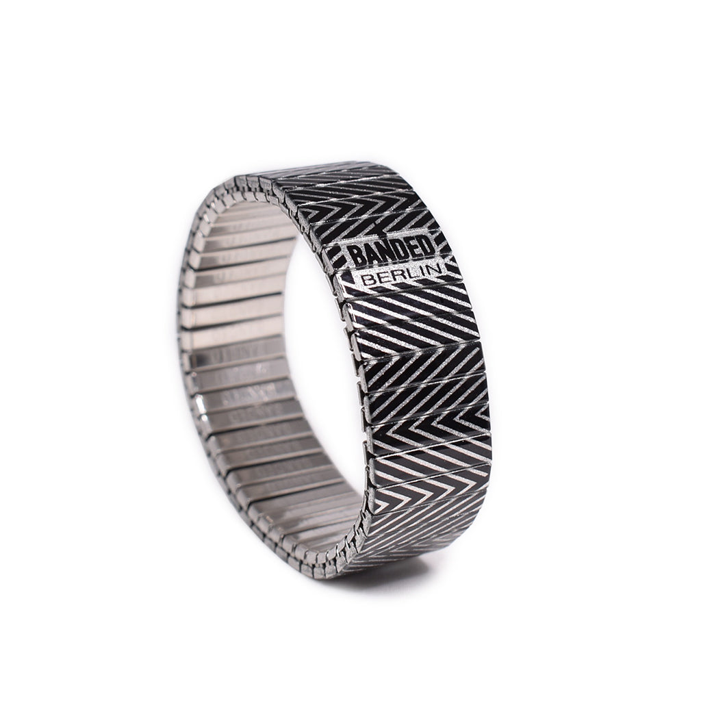 "New to the Black n whites collection, this metallic version of the ""Slowdive Revers"" Banded says it all. Attitude never looked so symmetrically gorgeous. Show those punk kids who's the boss. By Banded Berlin bracelets 2020"