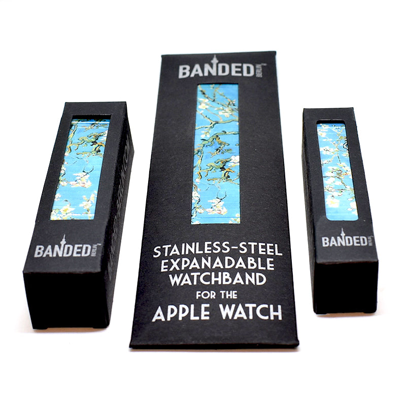 Almond Blossoms by Van gogh - available in 3 styles. 18mm 24mm and the Banded Apple Watchband