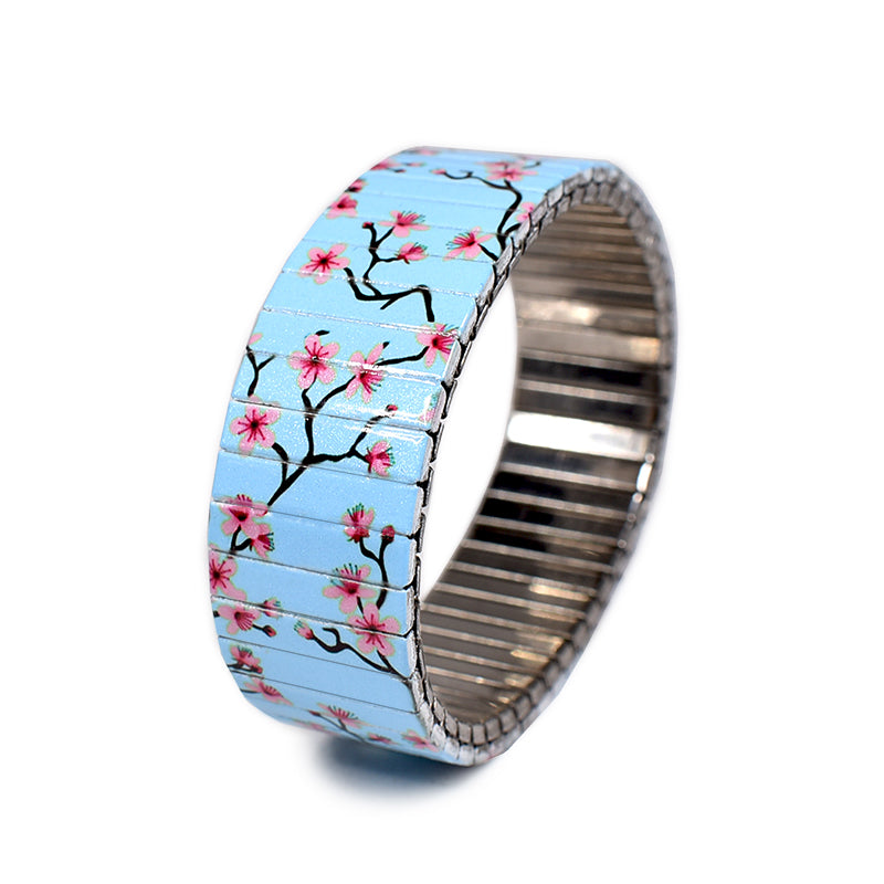 Banded Berlin's Cherry Blossom Blue, stainless steel bracelets made from the iconic expandable watchband