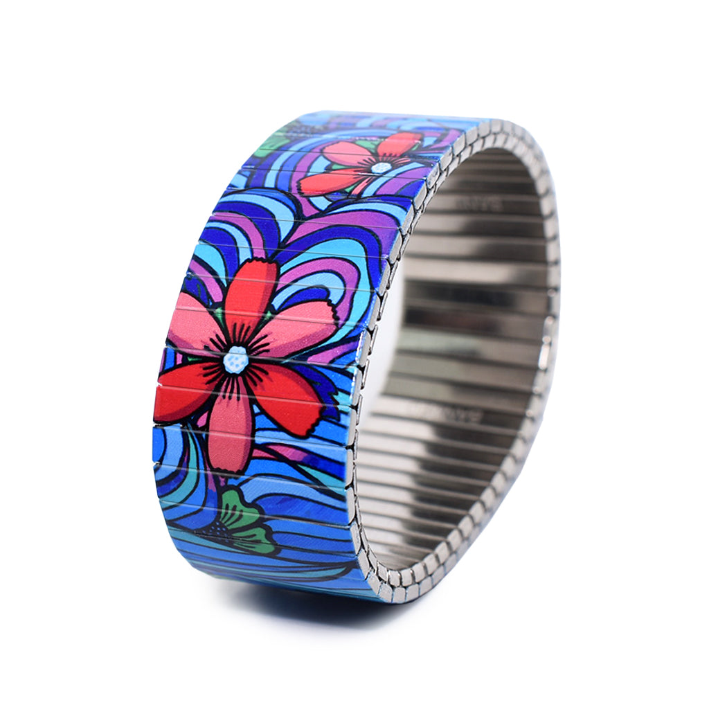 Squiggle Flower Pop-Blues 23mm Classic Finish by Banded berlin