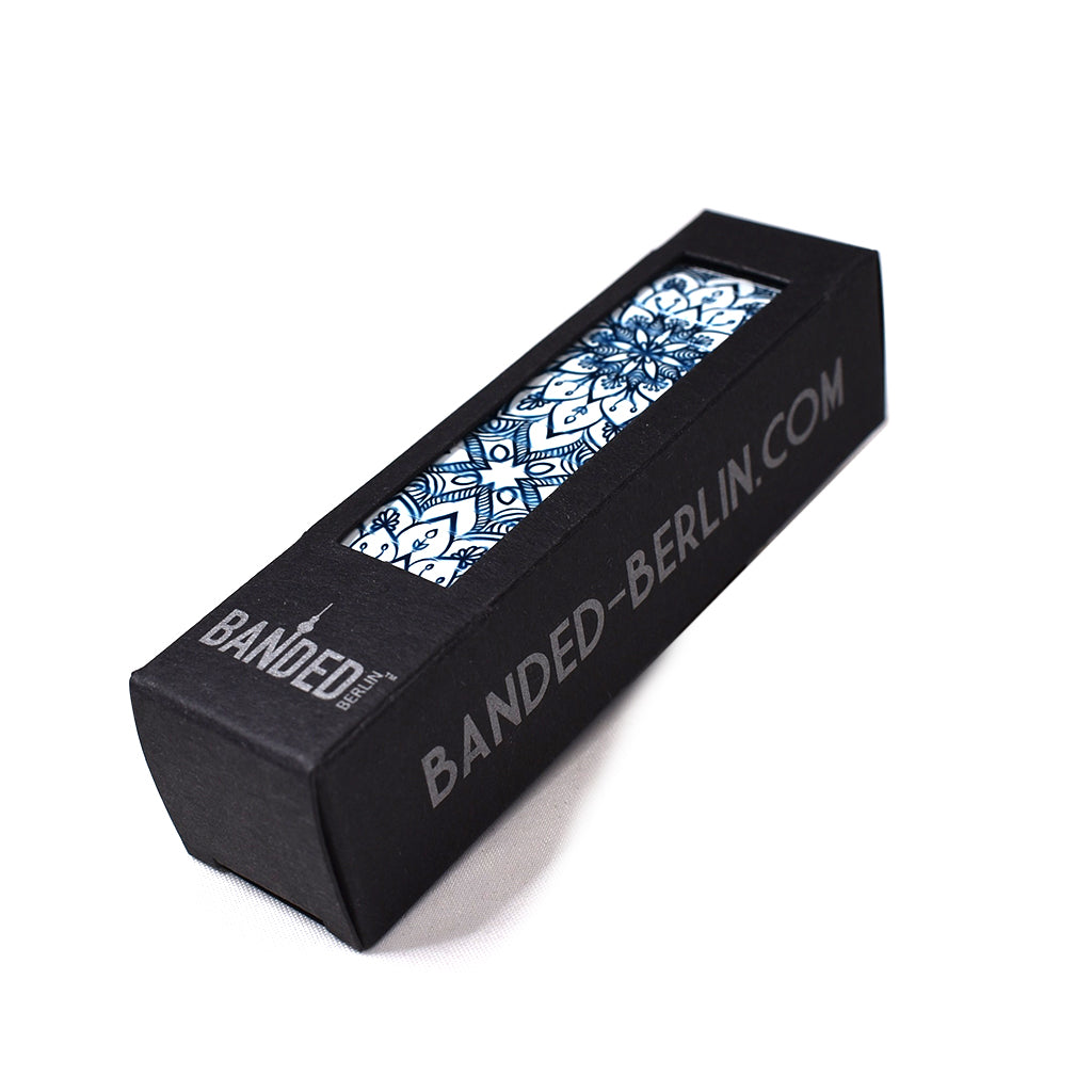 Gaudi's Footsteps - La Flor Azul 23mm box packaging by Banded Berlin Bracelets  Edit alt text