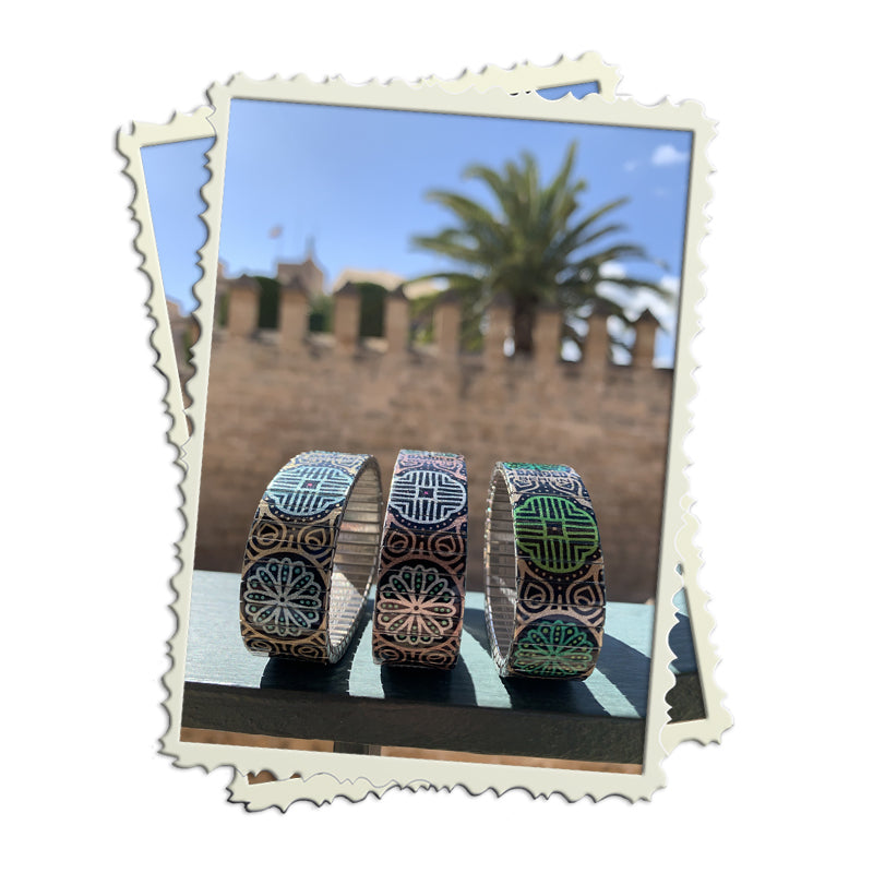 Ottoman Poetics collection on location in Mallorca Spring 2020 Banded Berlin bracelets