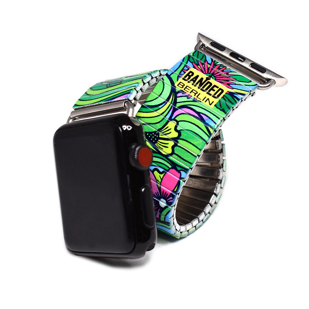 Squiggle Flower Pop- Jungle Green Apple watch © 2020, banded berlin