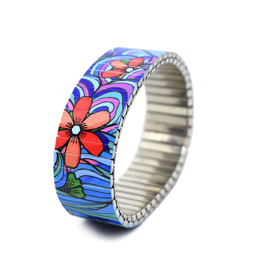 Squiggle Flower Pop-Blues 18mm by Banded Berlin