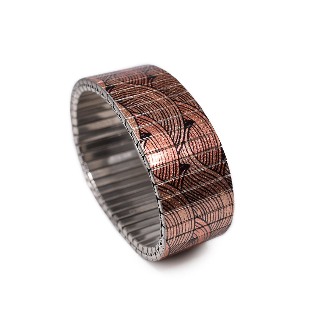 Copper Nazarene Metallic 23mm  Inspired by Vintage Japanese woodblock print, this simple classic pattern has been a fan favourite   © 2020, banded berlin