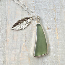 Load image into Gallery viewer, Sage Green Sea Glass & Fine Silver Leaf Charm Necklace