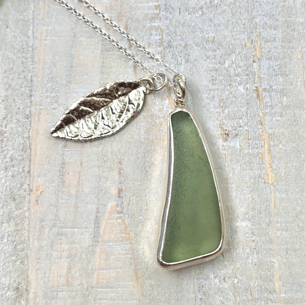 Sage Green Sea Glass & Fine Silver Leaf Charm Necklace