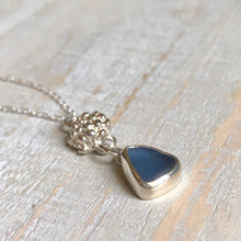Load image into Gallery viewer, Cornflower Sea Glass & Silver Succulent Dangle Pendant Necklace