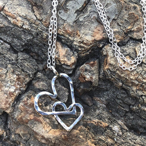 Sterling Silver Interlocking Textured Hearts Necklace