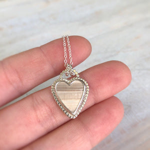 Natural Florida Clam Shell & Silver Heart Necklace