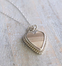 Load image into Gallery viewer, Natural Florida Clam Shell & Silver Heart Necklace