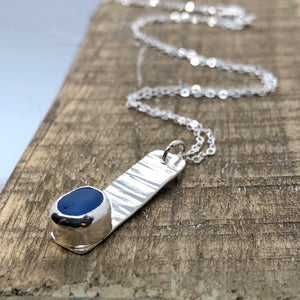 Cornflower Sea Glass & Silver Bar Necklace