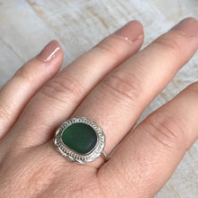 Load image into Gallery viewer, Juniper Green Sea Glass & Silver Statement Ring