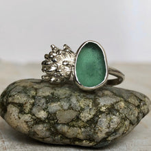 Load image into Gallery viewer, Juniper Green Sea Glass & Fine Silver Succulent Ring