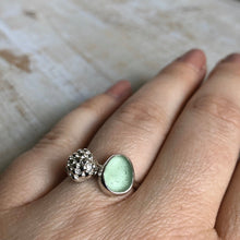 Load image into Gallery viewer, Cucumber Sea Glass & Fine Silver Succulent Ring
