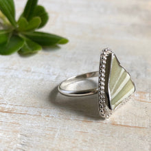 Load image into Gallery viewer, Green Striped English Sea Pottery & Silver Ring