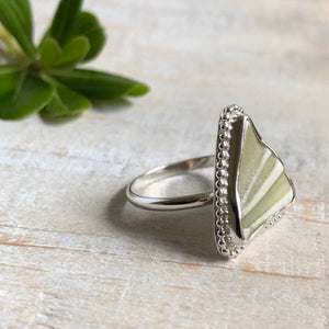 Green Striped English Sea Pottery & Silver Ring