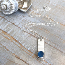 Load image into Gallery viewer, Cornflower Sea Glass & Silver Bar Necklace