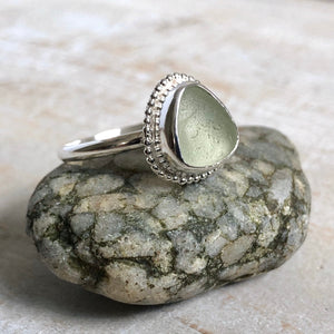 Honey Dew Sea Glass & Silver Statement Ring
