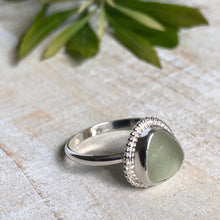 Load image into Gallery viewer, Honey Dew Sea Glass & Silver Statement Ring
