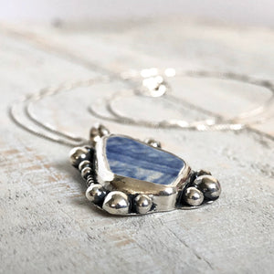 Blue Willow Sea Pottery & Silver Pearls Necklace