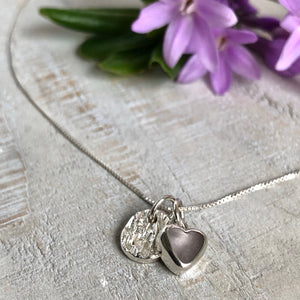 Lavender Sea Glass & Silver Charm Necklace