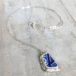 Blue Willow Pottery & Silver Faceted Necklace