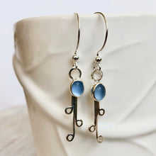 Load image into Gallery viewer, Cornflower Sea Glass & Silver Vine Earrings