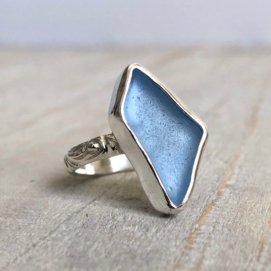 Ocean Blue Sea Glass & Silver Renaissance Ring