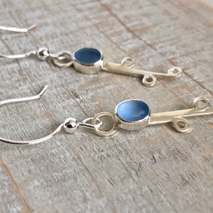 Cornflower Sea Glass & Silver Vine Earrings