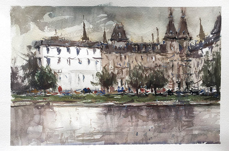 Before The Rain, Copenhagen - Watercolour Painting - Marco Bucci Art Store