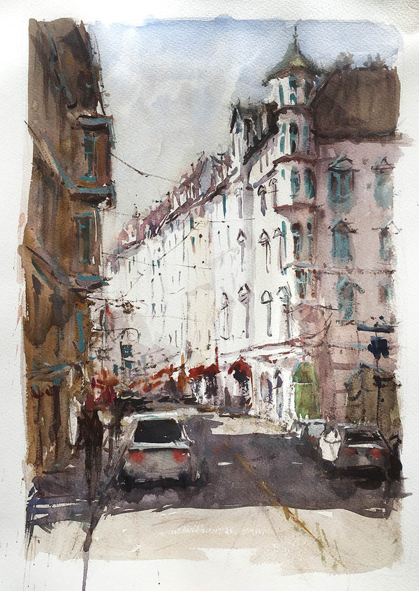 Hohenzollernstrasse - Watercolour Painting - Marco Bucci Art Store
