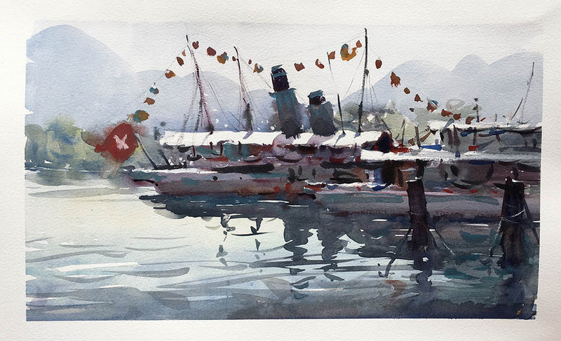 Lucerne Dock - Watercolour Painting - Marco Bucci Art Store