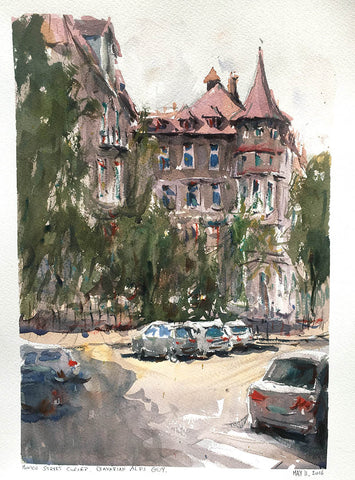 Munich Court, Watercolour - Marco Bucci Art Store