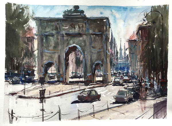 SOLD - Munich Gate - Watercolour Painting - Marco Bucci Art Store