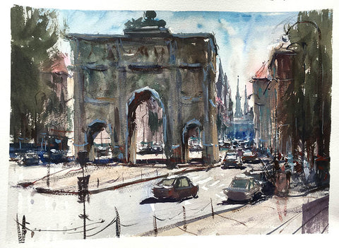 SOLD - Munich Gate - Watercolour - Marco Bucci Art Store