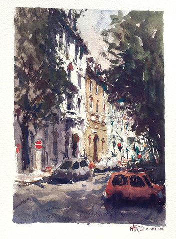Munich Stroll, Watercolour Painting - Marco Bucci Art Store
