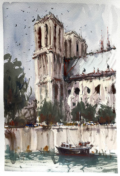 Notre Dame Cathedral - Watercolour - Marco Bucci Art Store