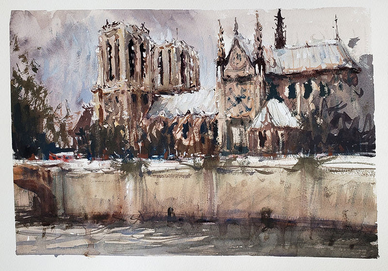Notre Dame Cathedral II - Watercolour