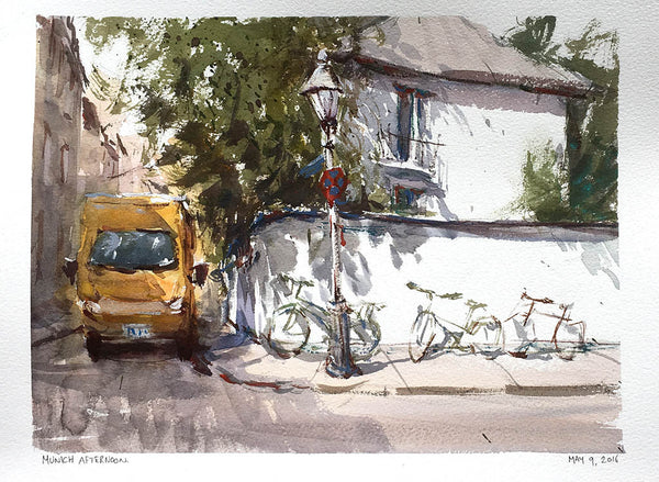 SOLD - Schwabing Afternoon - Watercolour Painting - Marco Bucci Art Store