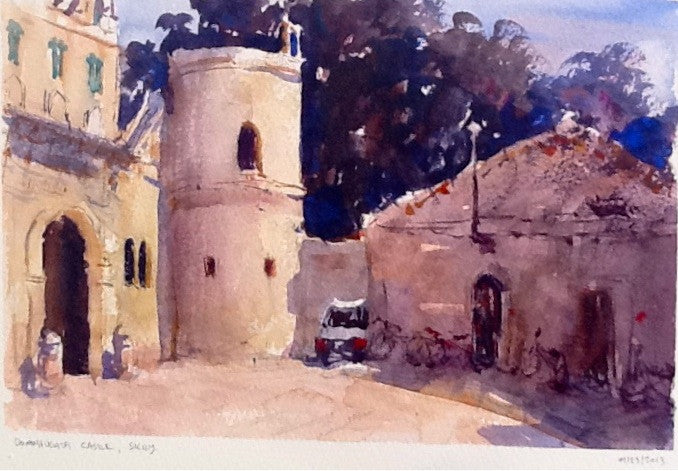 SOLD - Sicilian Castle - watercolour Painting - Marco Bucci Art Store