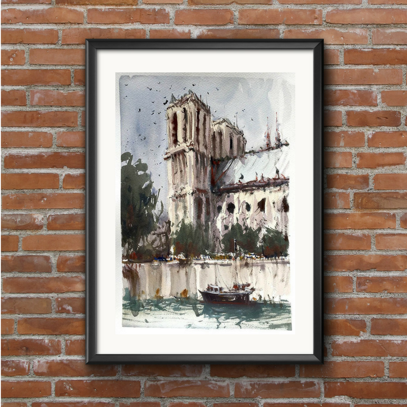 Notre Dame Cathedral - Watercolour